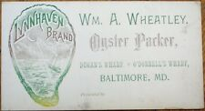 Oyster Packer 1890 Trade Card/Price List - Dugan/O'Donnell Wharf - Baltimore, MD