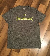 Men's Under Armour Combine Training Athletic Top. Gray And Green .Size Large