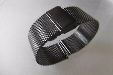 Milanaise Uhrenarmband, Edelstahl 24 mm schwarz Faltschließe