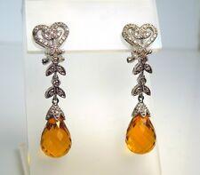 New Briolette Citrine Diamond 14kt White Gold  Dangle Earrings * GAL Appraisal