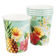 Set de 6 Paraíso vasos de papel Hawaiano Piña hawaiana Vajilla Fiesta