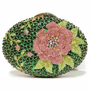 WOMEN Luxury Evening Bag HARD SHELL GREEN Crystal-Embellished Flower Evening Clu