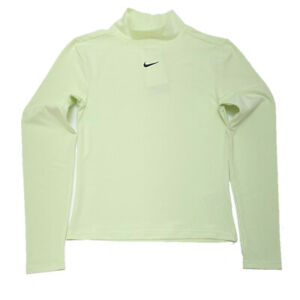 Nike Womens Sports top Jersey Swoosh Long-Sleeve Mock Neck Lime Green
