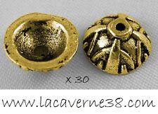 Lot 30 coupelle intercalaire 9x4mm trou 1mm caps or antique perle création bijou