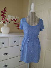 Motherhood Maternity Blue/White Striped Short Sleeve Knit Top Tunic Shirt Sz. M