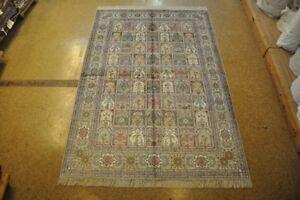 6x9 Multi-Color-Light Gray Bakhtiari Style Rugs Handmade Silk Carpet