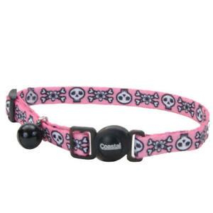 "Safe Cat Fashion Adjustable Breakaway Collar 3/8""x 08""-12"" Skulls Pink"