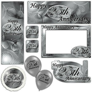 Happy 25th Silver Anniversary Banners Decorations Balloons Party Supplies