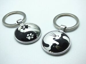 Yin & Yang Pet Keyring Dome Style Dog Cat Black & White Bag Charm Keychain Gift