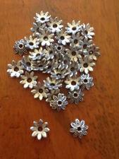 Antique Silver Flower Bead Caps x 200