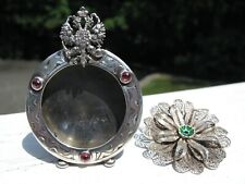 Hallmarked Faberge Picture Frame w Jewels & Imperial Filigree Brooch w Enamel