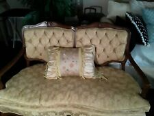Vintage French Country Ornately Carved Cane Settee Bench