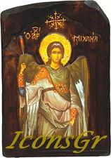 Handmade Handcarved Wooden Greek Orthodox Wood Icon of Archangel Michael / G4