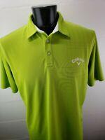 Mens Callaway Golf Polo Shirt Polyester Size XL Neon Green Geometric Gray Logo