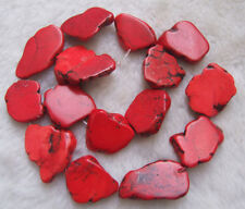 """20x30mm Red Howlite Flat Freeform Loose Beads 16"""""""