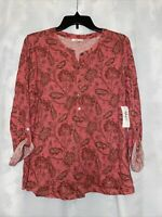 STYLE & CO Pink Floral Printed Long Roll Tab Sleeve Button Up Top XL X-Large NWT