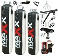 Maxx® Ultimate Boxing Set 3ft, 4ft, 5ft Heavy Filled  Punch Bag Gloves Bracket