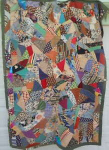 Victorian Antique Feather Stitched Crazy Quilt/ Throw