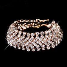 Luxury Women Girl Bridal Gold Silver Plated Crystal Wide Charm Bracelet 2018 HOT