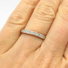 925 Sterling Silver Platinaire Real Diamond Wedding Band Ring Size 7