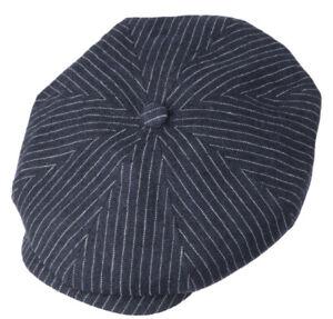 STETSON GERMANY 7 5/8 XL PETESON STRIPES Flat Cap 8/4 Virgin Wool Linen Newsboy