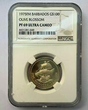 1975FM Barbados $100 Gold Coin Olive Blossom PF69 Ultra Cameo NGC  #NC50