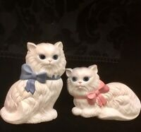 Homco White Cats Kitty Wall Hanging Decor Vintage 1970's Retired Pink Blue Bow