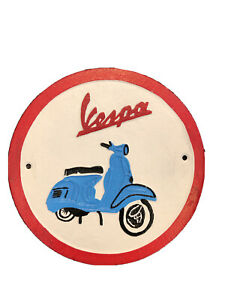 Vespa Sign Cast Iron Advertising Sign Garage Man Cave Scooter Sign Cast Iron