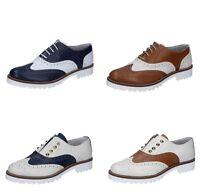 OLGA RUBINI scarpe donna classiche colori bianco panna blu e marrone pelle