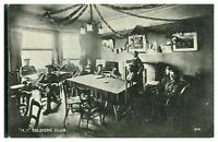 Antique WW1 military printed postcard M T Soldiers Club inside view