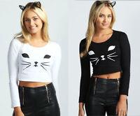 Brand New Ladies Ex Boohoo Cassie Cat Long Sleeve Crop Top In Black Or White