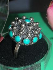 Antique Etruscan Sterling Silver Turquoise Dome Ring ~Mx Eagle 2 Stamp