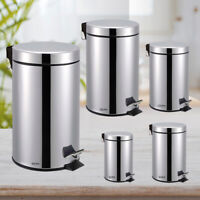 3 5 12 20 & 30L Silver Stainless Steel Bathroom Toilet Kitchen Rubbish Pedal Bin