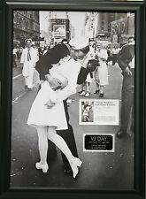 THE SAILOR & THE NURSE V-J DAY Signed 26X19 Framed Photo Display COA
