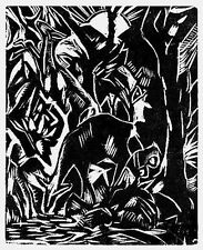 Hans Thuar Rehe Orig.-Holzschnitt 1921 Expressionismus deer chevreuil capriolo