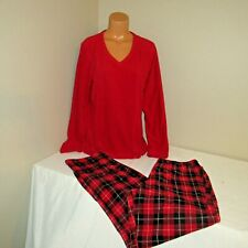 Croft & Barrow Poly Fleece L/S Top & Long Pajama Pant Red/Black L Long NWT