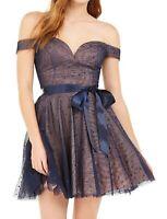 Teeze me Dress Blue Size 11 Junior Sheath Sequined Sweetheart-Neckline $79 114
