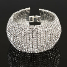Breit Armband Manchette Strass Armreif Xl Versilbert 33 mm Kette Kristall BR