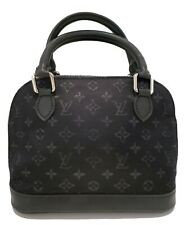 LOUIS VUITTON Black Satin Monogram Mini ALMA BB Leather Tote Bag