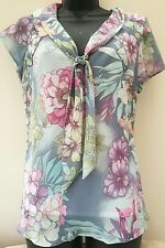Bon marche floaty summer floral shaped blouse size 14 polyester bnwot