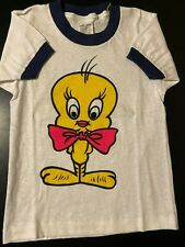 Vintage 80s Tweety Bird Action Sportswear Ringer T-Shirt Looney Tunes Cartoon
