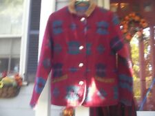 WOOLRICH WOOL INDIAN BLANKET JACKET W/SUEDE COLLAR AND EDGE POCKETS SIZE SMALL