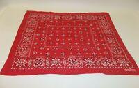 Large Vintage Bandana Handkerchief Red Fast Color Cotton Elephant Trunk Up