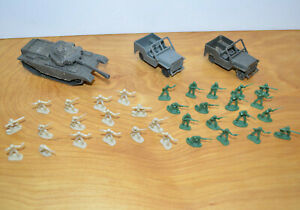 Plastic Army Men Lot HO Scale Toy Soldiers Army Tank Jeeps Military Toys