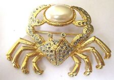 Bijou Vintage broche collection top qualité crabe perle blanche couleur or *3553