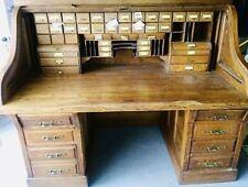 Vintage S-Curved Oak Roll Top Desk By Globe Wernicke Of Cincinnati