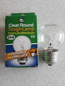 6x Bell 25W Round Clear Golf Ball Tough Lamp Light Bulbs Triple Life ES / E27-EB