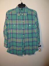 Chaps Ladies Plaid Denim Shirt Green Size S NWT MSRP $60.00
