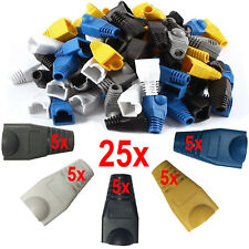 25x RJ45 Network Ethernet LAN Cat5e Cat6 Cable End Connector Snagless Cover Boot