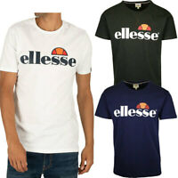 Ellesse Prado Mens Cotton T Shirt Logo Crew Neck White Black Navy Short Sleeve